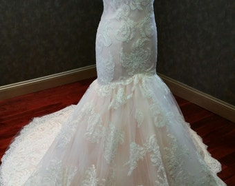 Blush and Ivory Mermaid Wedding Dress Sensational Lace Custom Made to your Measurements