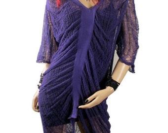 MEGA SALE Hand Shredded  Cotton Jersey Purple Dress