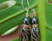 Gunmetal Gold Earrings - Super Cool - Vintage Czech Glass & Hematite Beads w Rhinestone Rondelles on Handmade Sterling Silver Hoops