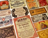 Parisian Labels - 18 Reproduction Vintage Labels from Paris France including French Absinthe, Perfume & Apothecary Labels, Sticker Pack