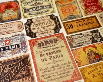 Parisian Labels - 18 Reproduction Vintage Labels from Paris France, French Absinthe, Perfume & Apothecary Labels, Sticker Pack