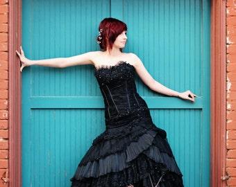Sensational Corset Black Wedding Dress Gothic Elegant