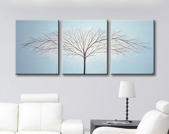 "SALE Wall Art Canvas Painting Tree of Life Art Home Decor Wall Decor Light Blue Wall Hanging Modern Art Blue Large Trees Paintings 48""x20"""