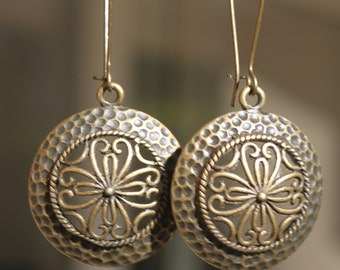 Brass Earrings Boho Earrings Bohemian Earrings Dangle Jewelry Earrings Filigree
