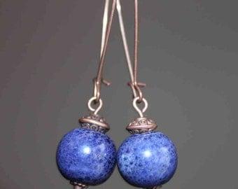Navy Blue Earrings Blue Earrings Ceramic Earrings Dangle Earthy Earrings Boho Chic earrings Porcelain earrings Copper Earrings Jewelry