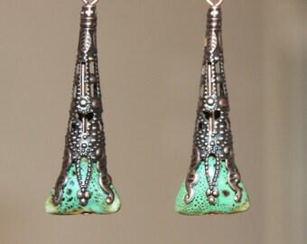 Green Earrings Victorian Earrings Copper Earrings Ceramic Earrings Earthy Dangle Drop Geometric Earrings Boho Jewelry Gift For Her