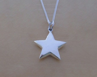 """925 Sterling Silver Puffed 18 mm Star Pendant, Charm on 16, 18 or 20"""" Curb Chain"""