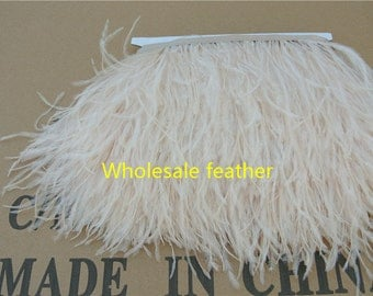 20 yards/lot ostrich feather trimming fringe ostrich feather trim on Satin Header 5-6inch in width