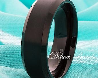 Black Titanium Wedding Band Brushed Beveled Edges 8mm Titanium Ring Personalized Mens Titanium Anniversary Ring Handmade FREE Engraving