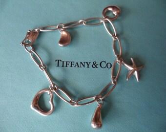 TIFFANY & CO Sterling Silver Bracelet Elsa Peretti 5 charm bracelet