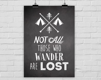 fine-art print poster Not all those who wander are lost chalkboard