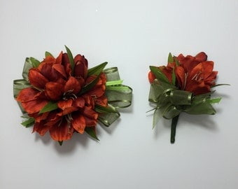 Red Altroemeria Corsage and Boutonniere Set
