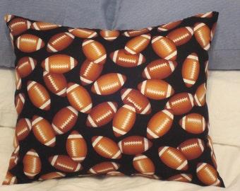 Football Pillow,  Man Cave Pillow,  Sport Pillow, Novelty Pillow, Den Pillow, Hobby Pillow, Mens Gift, Black with Brown Footballs Pillow