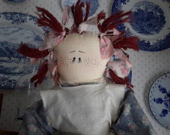 Handmade Rag Doll, Vintage Handmade Cloth Doll, Country Rag Doll, Farmhouse Decor