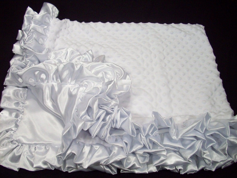 Satin Baby Blanket White Minky Baby Blanket Baptism