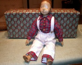 Vintage Wooden Doll Boy Hand Carved,  Artist, New In Box, Rare