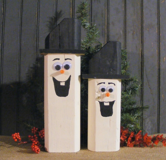 Wooden Snowman Christmas Mantle Decorations By GFTWoodcraft