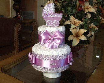 Baby Girl diaper cake lavender/purple Diaper cake Baby shower gift/centerpiece two Tier diaper cake
