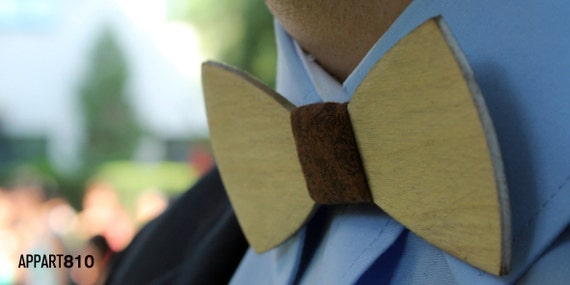 Lester. Bow tie of Birch wood cut and engraved laser textured Lester.