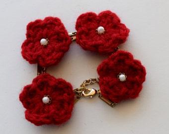 Red Poppy Crochet Bracelet