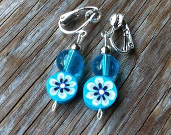Flower Clippings - Blue Flower Clip-On Earrings