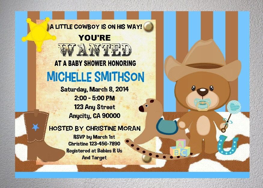 western cowboy baby shower invitation printable by dpiexpressions
