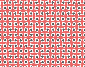 Coral Tumbling Boxes fabric from the Mimosa Collection by Another Point of View for Windham Fabrics #39981-6