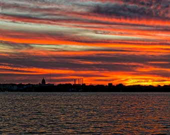 Sunset over Lake Monona and the Capitol, Madison, WI Color photograph