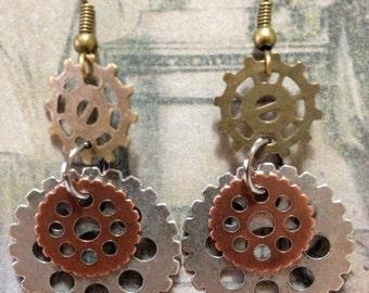 Mechanical Gears Metal Earrings - Very lightweight!