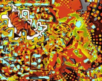 Amber Insanity - Digital Art printed on canvas