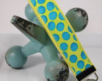 Ready to Ship -- Fun Key Fob / Keychain / Wristlet --Lime Green and Turquoise dot Malka Dubrawsky fabric