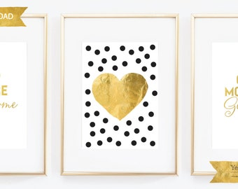 "Heart Gold Foil Wall Art, Printable File, Instant Download, Faux Gold Foil, Heart, Gold Foil, 5""x7"",Yellowdotpaper"
