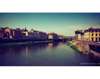 Firenze - Landscape art photograph taken from a bridge across the Arno river, Florence, Italy, signed print
