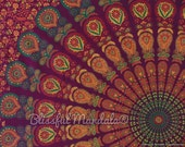 BSD229 Maroon Orange GreenMandala Tapestry, Psychedelic tapesty, Boho hippie tapestries, Indian  Wall hanging, gypsy wall decor, textile
