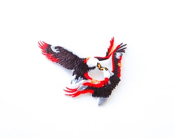 80's FIGHTING EAGLES Embroidered Iron-On Patch Vintage Deadstock
