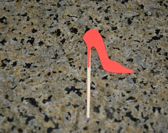 12 Red Stilettos as Mini Cupcake ToppersMini /Cupcake Toppers/Stiletto Topper/Stiletto/Red Stiletto Cupcake Toppers/Bachelorette Toppers