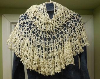 Crocheted Shawl, Lacy Shawl, Ecru Shawl, Handmade Shawl