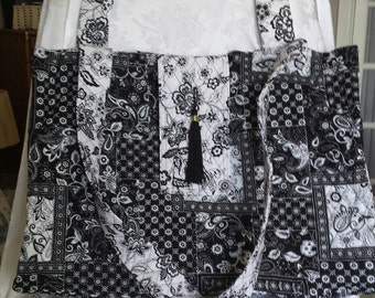 Tote Bag. Carry All Bag. Quilted. Oversized. 100% Cotton.  Magnetic Closure.  Side Pockets.  Made in USA.