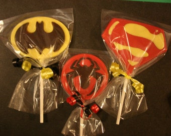 20 Chocolate SUPERHERO Lollipop Party Favors - Batman Spiderman Superman inspired