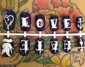 Tattoo Fake Nails, Vintage Dress, Purple False Nails, Old School, Love Birds, Heart Nails, Sailor Jerry, Nail Designs, Swallow Tattoo Art