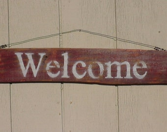 WELCOME -Free Shipping-Antique style sign,Reclaimed wood,Distressed,Red barn red,Rustic,Vintage/Primitive style,Home decor,with Wire hanger