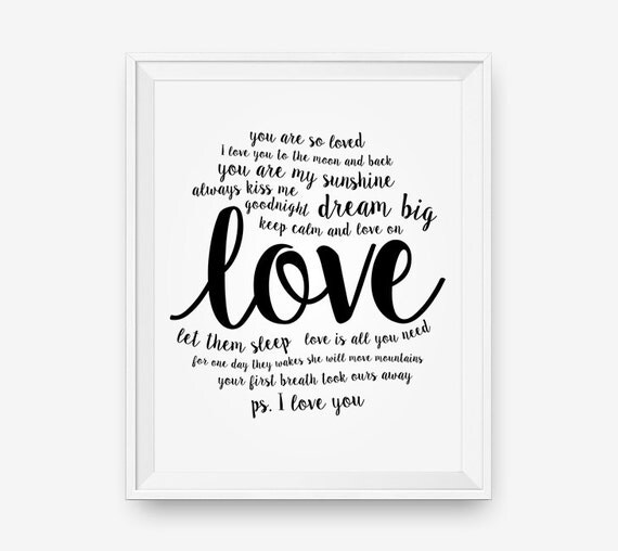 Printable Love Quotes Impressive Items Similar To Sale Love Quote Printable Nursery Wall Quotes