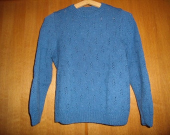 sweater knitting, 36/38 hand, jeans blue