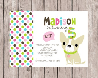 PRINTABLE- Puppy Dog Birthday Invitation - Girl's Birthday Invite- Party Invite- 5x7 JPG
