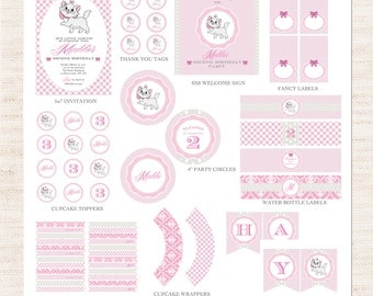 Marie Aristocats Birthday Party Full Printable Collection | Marie Aristocats Party Printable Package | Girl Birthday | Gracie Lee Design
