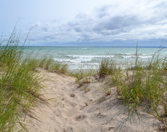 Lake Michigan over the sand dune on North Manitou Island