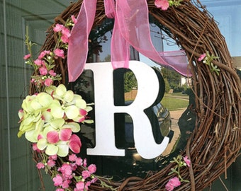 Grapevine Spring wreath w/ Flowers and Letter