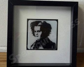 Sweeney Todd fused glass framed art work