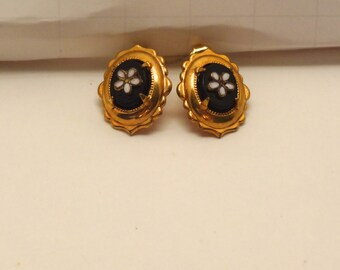 Antique Late 1800's Gold Filled Onyx with White Enamel Daisy Earrings