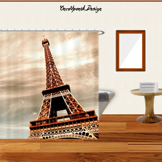 Items similar to beautiful eiffel tower shower curtain for Eiffel tower bathroom accessories